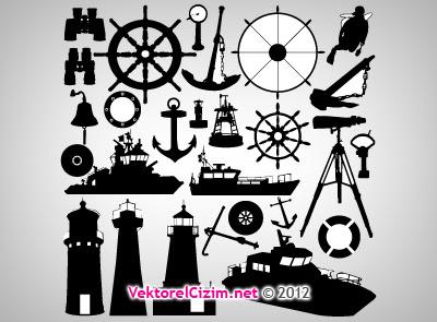 Vektörel çizim Deniz Araçları