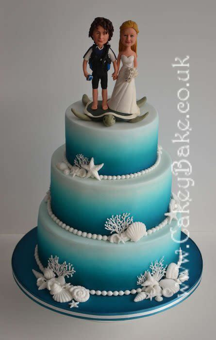 Airbrushed Sea Themed Wedding Cake   cake by CakeyBake