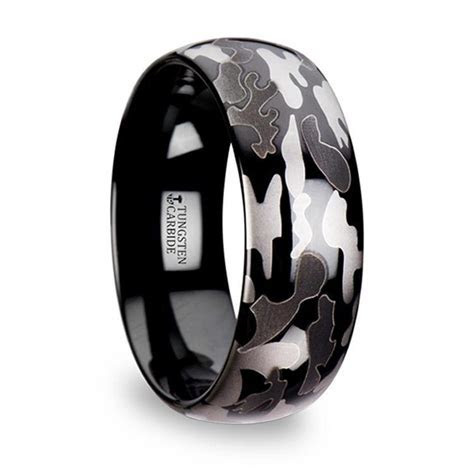 Black & Gray Camo Pattern Men's Wedding Ring in Tungsten