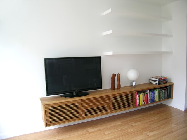 Floating Media Cabinet and Shelves - Contemporary - Living ...