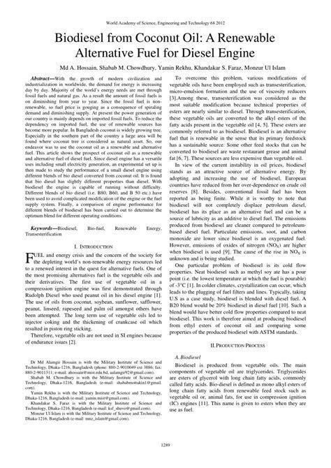 (PDF) Biodiesel from Coconut Oil: A Renewable Alternative