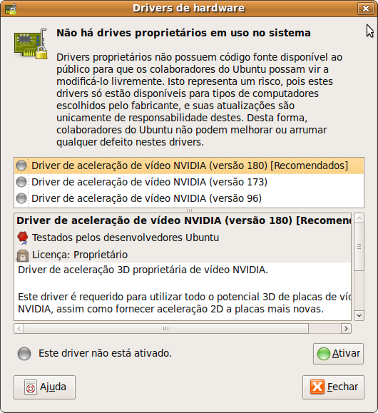 Gerenciador de Drivers do Ubuntu
