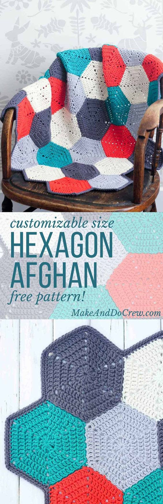 """HAPPY HEXAGONS"" FREE CROCHET AFGHAN PATTERN I really love this hexie blanket pattern. So good! Jess from Make Do & Crew shares a fab pattern via the link."