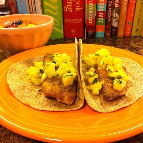 Crispy Tilapia Tacos w/ Pineapple Mango Salsa & Fruit Salad #wfd