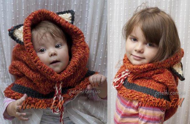 Capucha para niños con orejas - Chanterelle.  Descripción de hacer punto