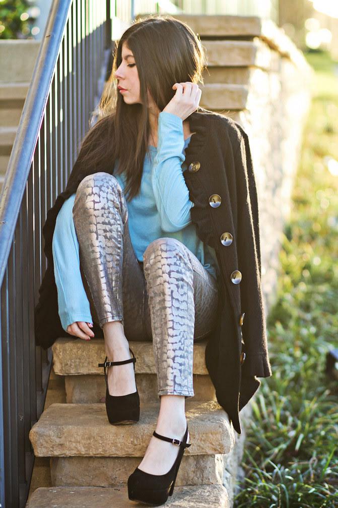 Stylemint Mary Kate and Ashley Olsen, Marni platforms, Alexa Chung, metallic snakeskin jeans, Fashion outfit