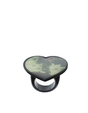 Image 1 of ASOS Heart Shaped Ring with Cat Portrait