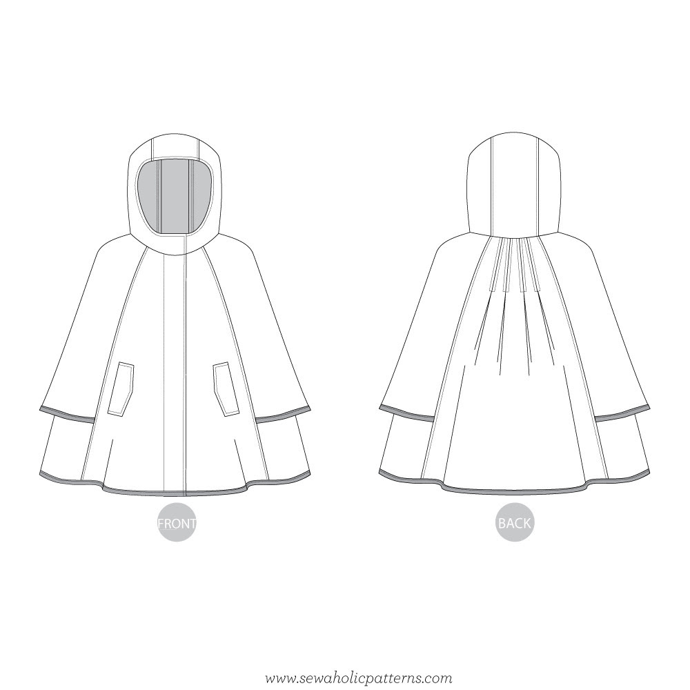 Cypress Cape by Sewaholic Patterns, Line Drawings