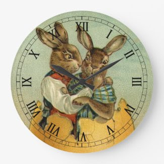 Vintage Victorian Easter Bunnies, Giant Easter Egg Wall Clocks