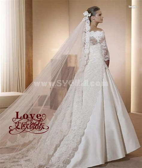 A line off the shoulder Lace Wedding Dress with Long