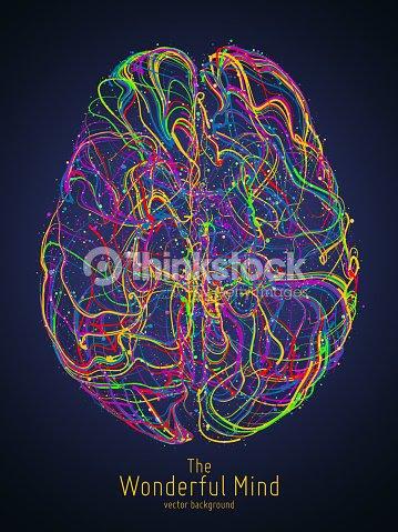シナプスを用いたひと脳のベクトル カラフルなイラストアイデアの誕生