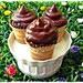 Fintigelato cupcakes con confettura di fragole
