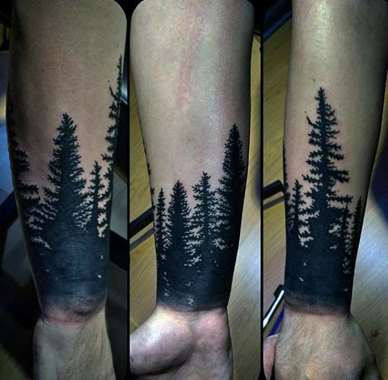 Black And Grey Tree Tattoos