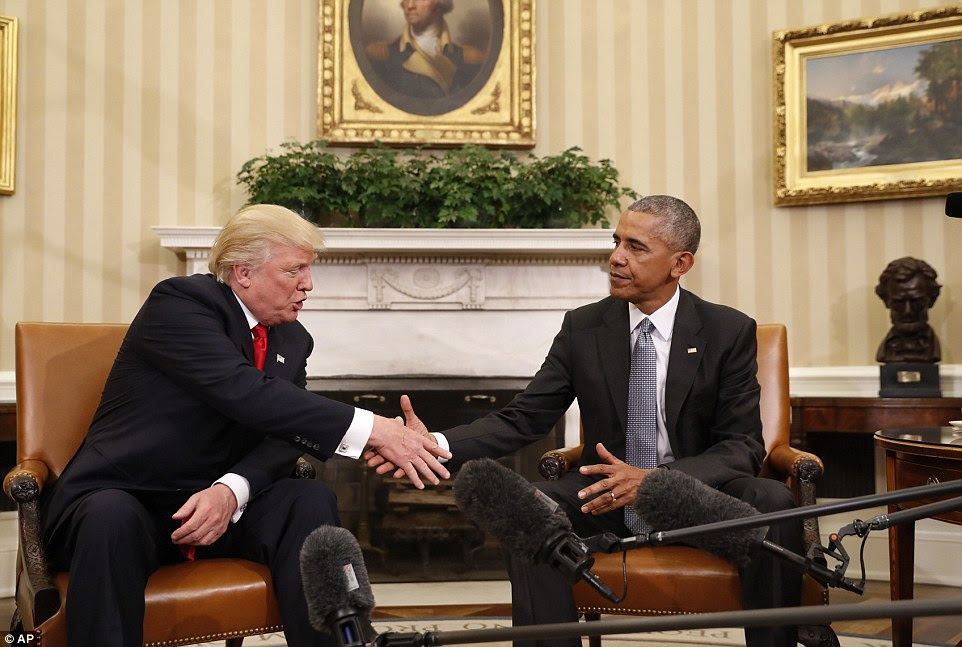 President-elect Donald Trump and current President Barack Obama and an hour-long meeting at the White House on Wednesday morning