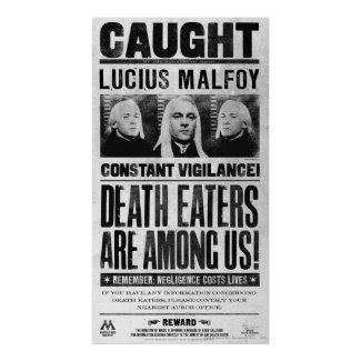 Lucius Malfoy Wanted Poster print