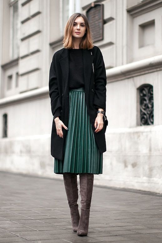 Le Fashion Blog Blogger Style Black Longline Coat Sweater Green Midi Pleated Skirt Over The Knee Suede Boots Via Fashion Agency