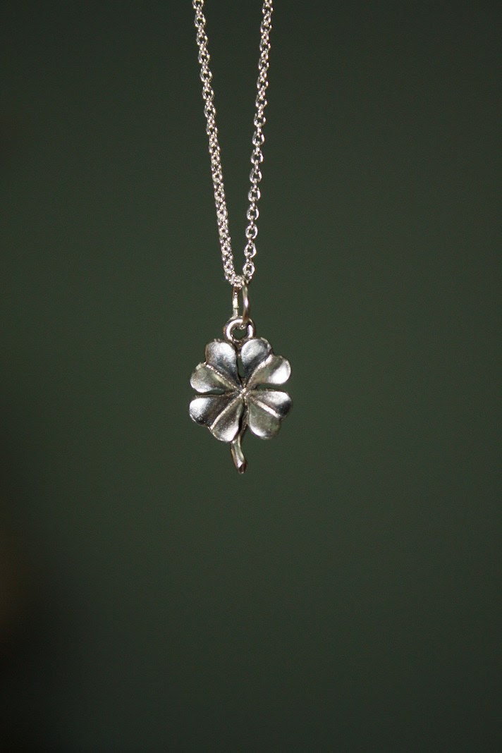 Lucky Four Leaf Clover Charm on a Silver Chain Necklace