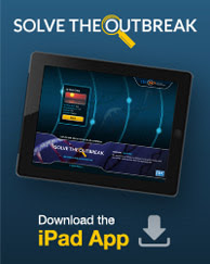 """screenshot of the """"Solve the Outbreak"""" app for ipad and iphone"""