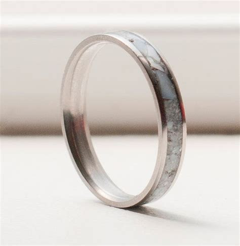Women's Wedding Band with Mother of Pearl Inlay   Stacking