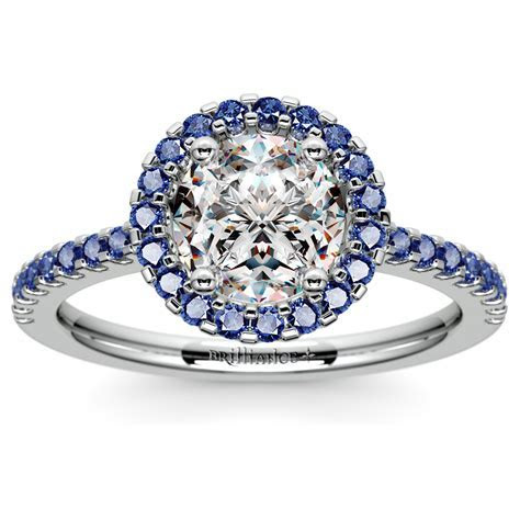 Halo Sapphire Gemstone Engagement Ring with Side Stones in