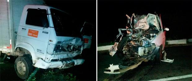 Acidente envolveu um caminhão e um Palio, que colidiram na BR-304, entre as cidades de Angicos e Fernando Pedroza (Foto: Divulgação/PRF)