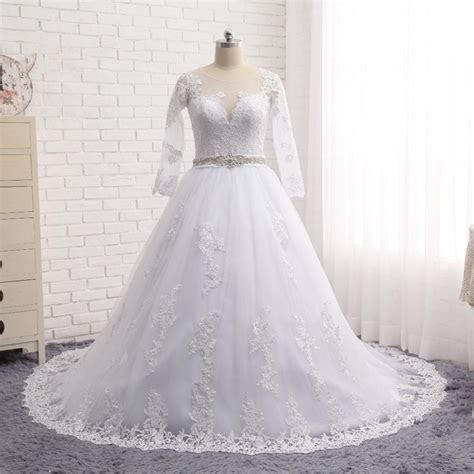 Discount 2017 Long Sleeves Plus Size Wedding Dresses With
