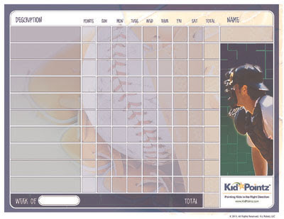Kids Printable Behavior Chart Sports Theme Kid Pointz