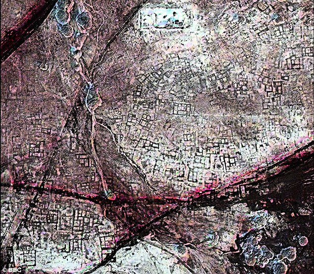 A satellite image of an area of Tanis that shows the city to be littered with underground tombs.