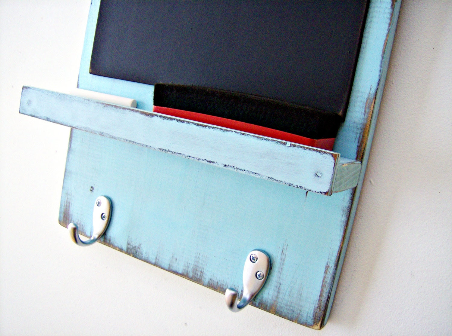Chalkboard with Key Hooks TURQUOISE Shabby by BlueRidgeSawdust