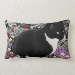 Freckles in Flowers II, Tuxedo Kitty Cat Pillows