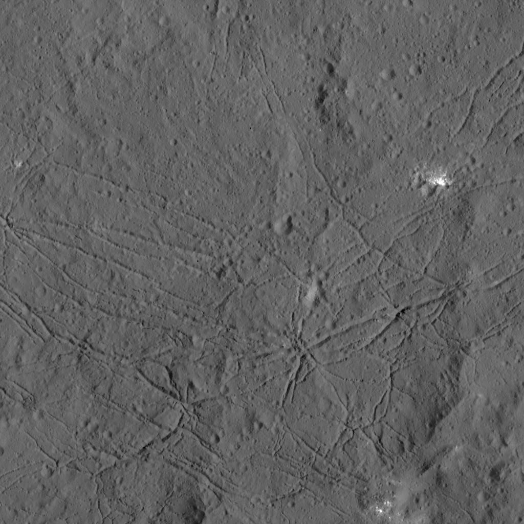 La densa red de fracturas en el suelo del Cráter Dantu es visible en esta imagen captada por la sonda espacial Dawn