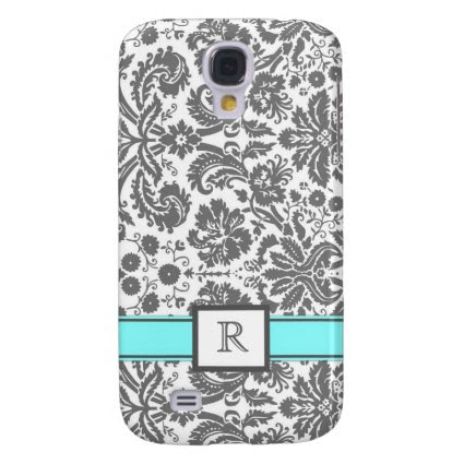 Samsung Custom Monogram Grey Aqua Floral Damask Samsung Galaxy S4 Covers