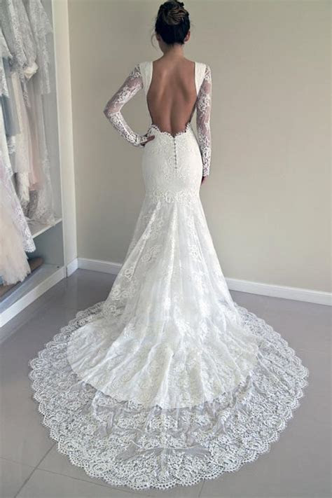 High Quality Scoop Open Back Mermaid Wedding Dress with