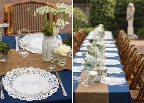 love the blue table clothes and burlap runner and