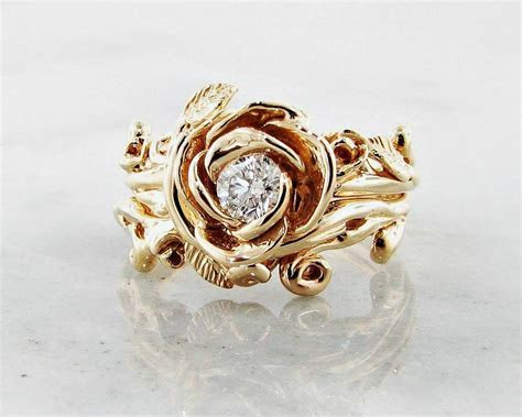 Diamond Yellow Gold Wedding Ring Set, Rose Garland