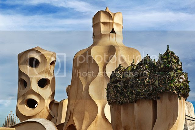 Modernist Chimneys by Antoni Gaudi on La Pedrera or Casa Mila Roof [enlarge]