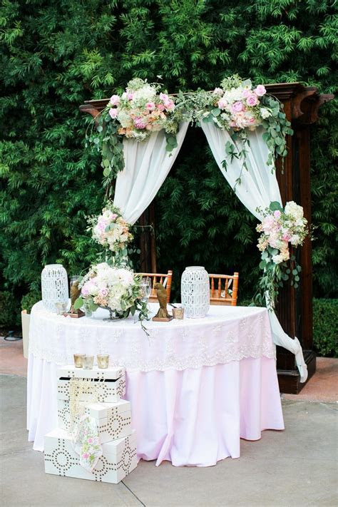 Franciscan Gardens wedding arch and sweetheart table