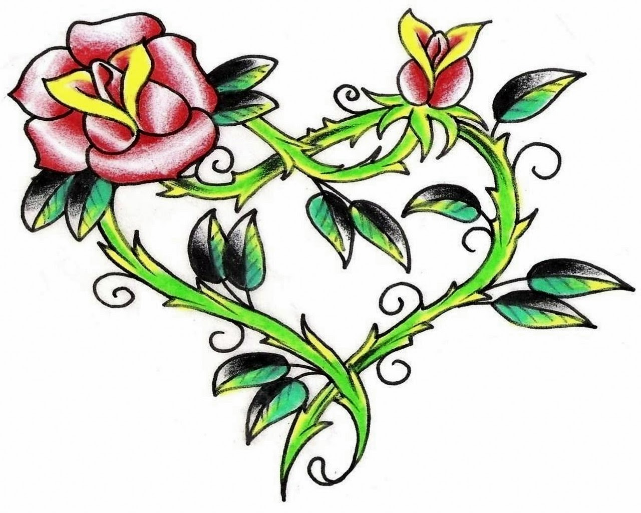 Flowers And Hearts Tattoos Clipartsco