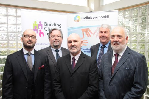 Alex Maskey MLA Chairperson of the Northern Ireland Assembly Committee for Social Development pictured with from l-r  Tim London Queens University of Belfast, Seamus McAleavey Chief Executive NICVA, Frank Hewitt Chairman of BIG Lottery Northern Ireland  and Bill Osborne Chairperson Building Change Trust.