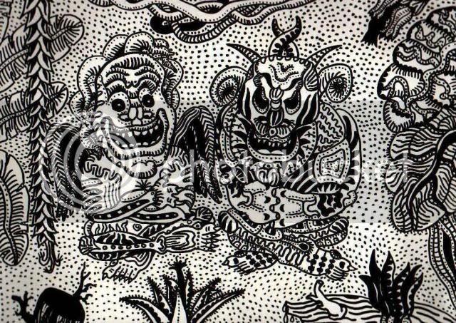 Два диких амазонских божества. Графический рисунок.