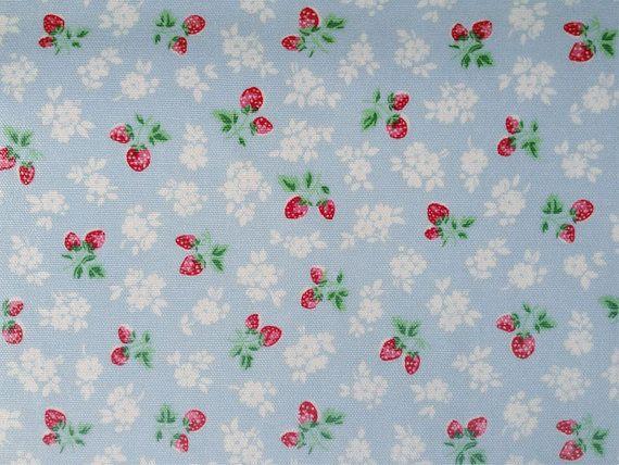3686 - Cath Kidston Strawberry Fields (Light Blue) Oilcloth Waterproof Fabric - 28 Inch (Width) x 17 Inch (Length) $6.00