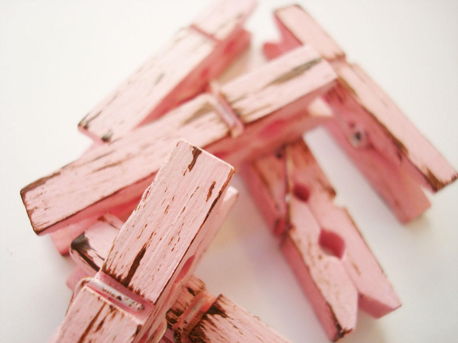 Tea Rose & Chocolate (Pink/Brown) Distressed Mini Clothes Pins - Shabby Chic 6 Pack