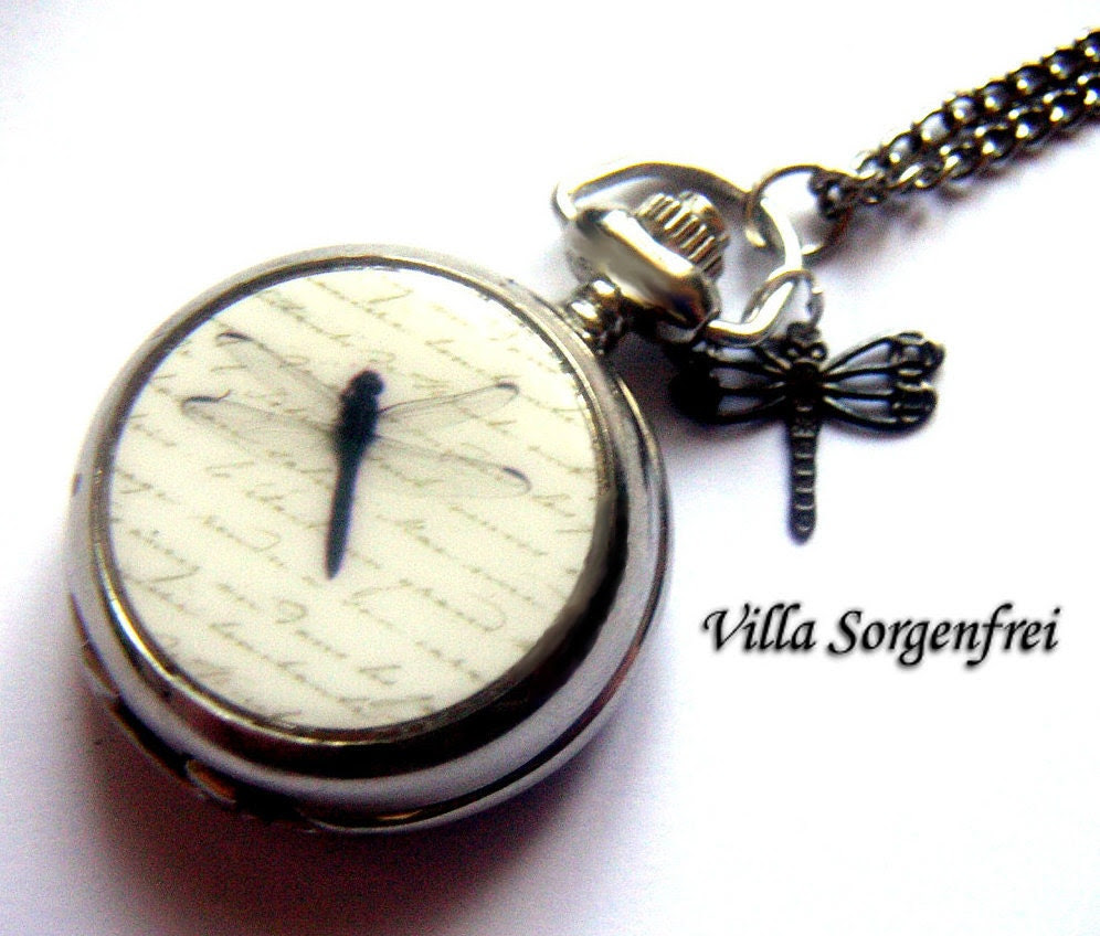 DRAGONFLY PARTNERS -  enameled  pocket watch necklace with two dragonflies