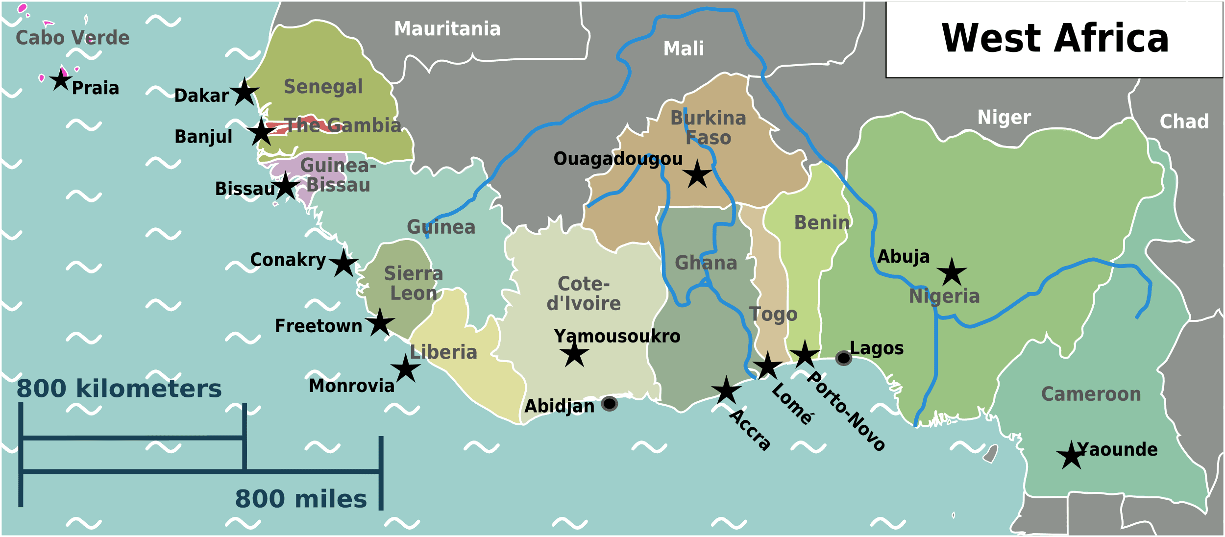 Physical Map Of West Africa | Map Of Africa