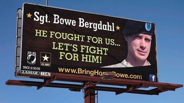 A billboard calling for the release of U.S. Army Sergeant Bowe Bergdahl, held for nearly five years by the Taliban after being captured in Afghanistan, is shown in this picture taken near Spokane, Washington on February 25, 2014. Bergdahl has been released and is now in U.S. custody, President Barack Obama said on May 31, 2014. Picture taken on February 25, 2014.  REUTERS/Jeff T. Green (UNITED STATES - Tags: MILITARY POLITICS CIVIL UNREST CONFLICT TPX IMAGES OF THE DAY) - TM4EA4O17Y801