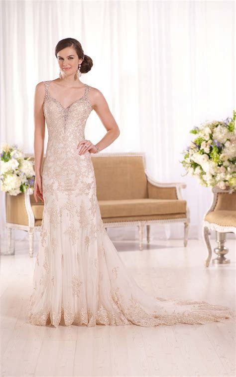 Lavish Satin Sheath Wedding Gown I Essense of Australia
