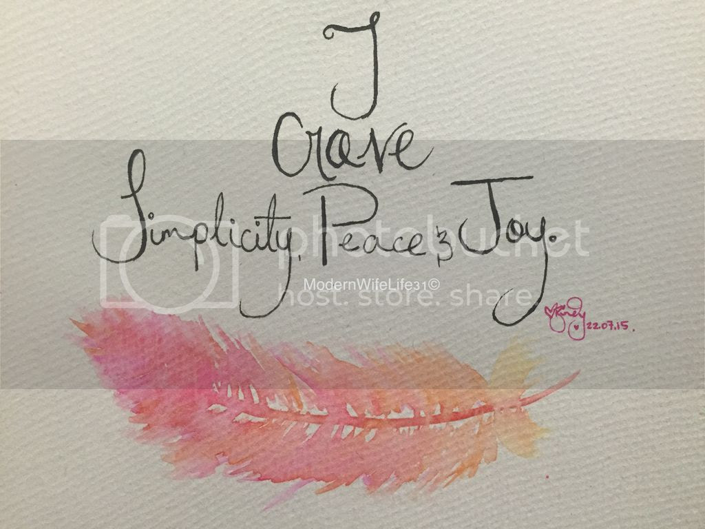 live simply water colour feather quote  joy peace