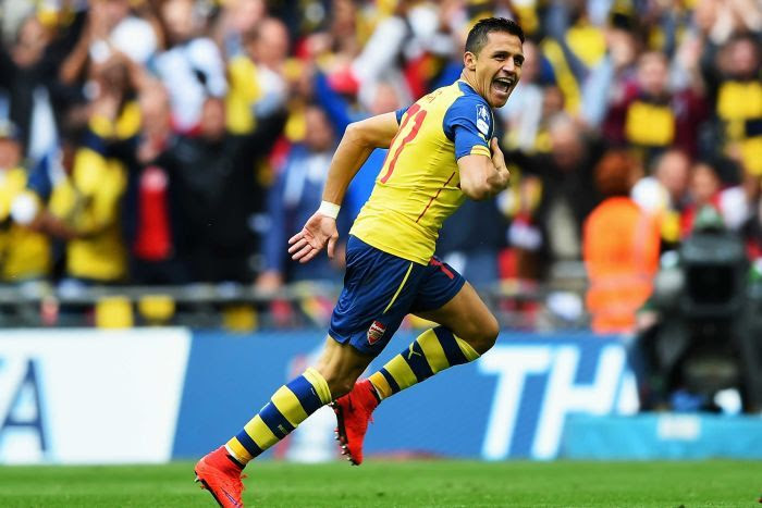 Sanchez celebrates goal for Arsenal in FA Cup final
