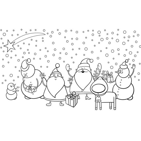 Coloriage Père Noël Et Bonhommes De Neige