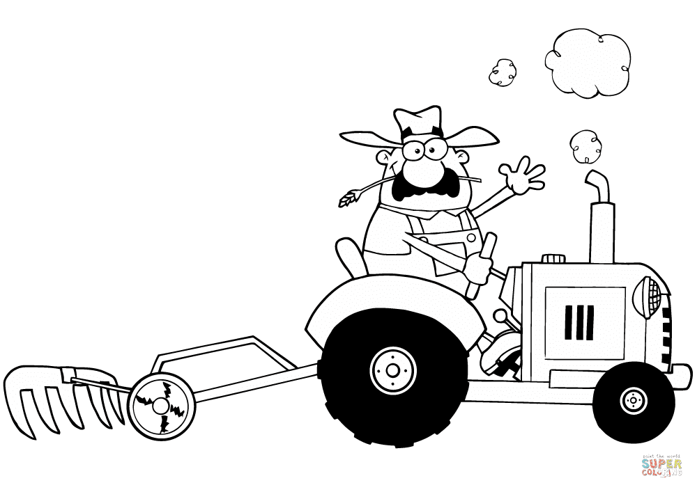 Happy Farmer Driving Tractor coloring page | Free ...